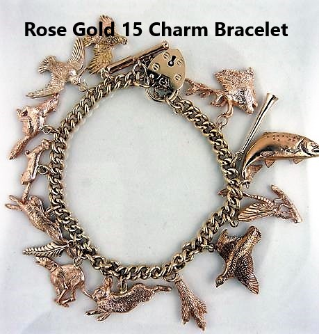 9ct Rose Gold and 9ct Yellow Gold Charm Bracelets – Fine Shooting ... b9cfb2ad6584