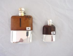 Hip flasks, glass and plated silver