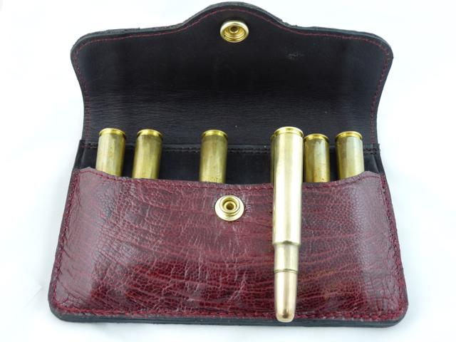 Express bullet pouch in ostrich hide