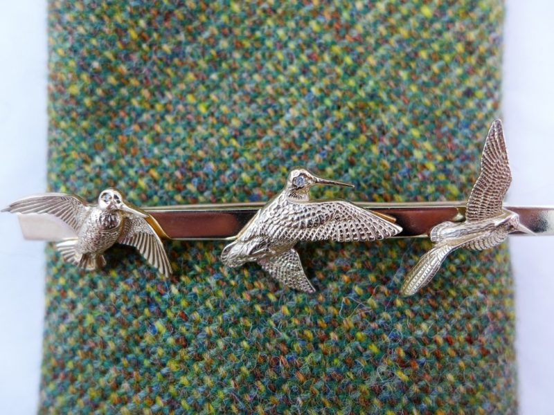3 Woodcock Brooch or Tie Pin