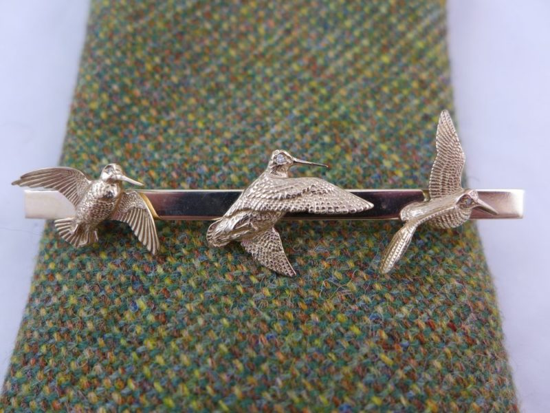 Gold 3 Woodcock Brooch or Tie Pin
