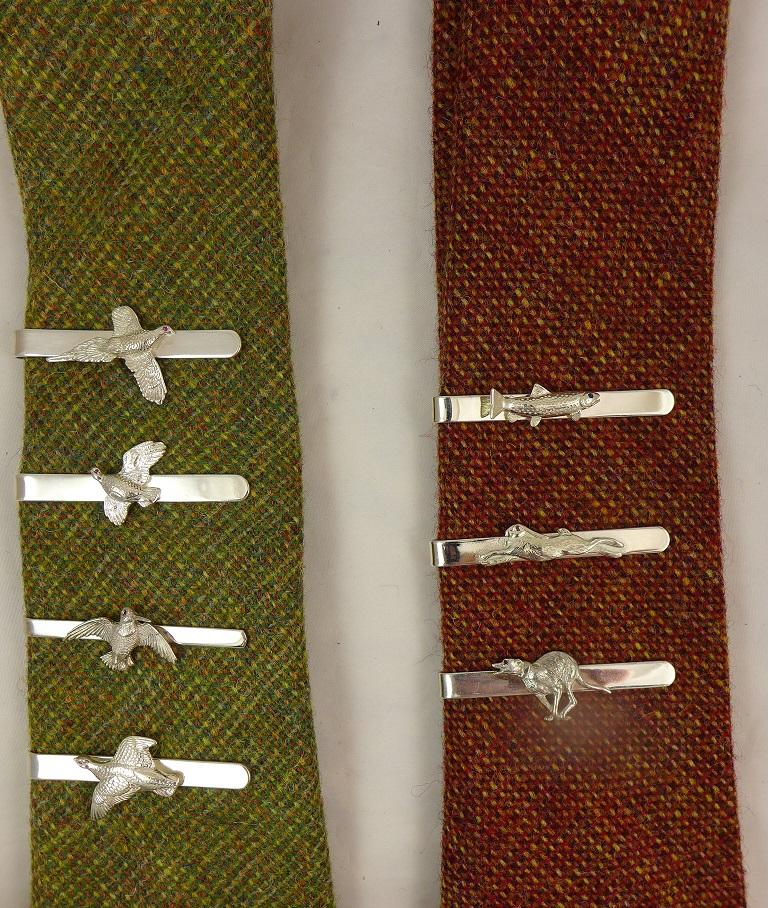 Various Silver Tie Pins